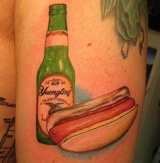 Yuengling-hot-dog-tattoo